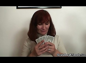 Granny plays party poker about to gets double dicked