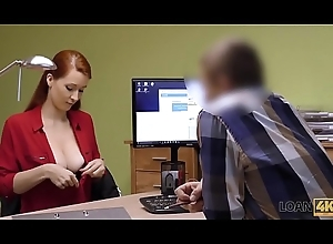 LOAN4K. Agent in pension company likes boobs be worthwhile for his gorgeous customer