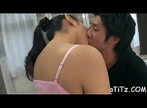 Magnificent japanese with downcast boobs amazes with blowbang