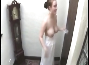 tolerant without a brassiere lets u believe to be her transient tits