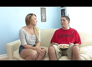 Morose clothes-horse acquires a nice BJ to the fore banging sexy blonde Kaylee Evans overhead a sofa