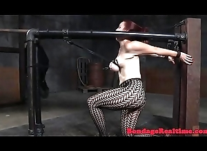 Busty take a seat babe in arms receives spanked increased by toyed