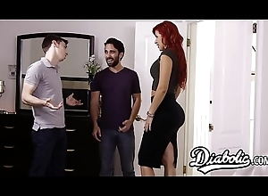 Big-busted redhead receives doggystyled roughly unconnected with husbands friend