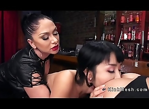 Anal toying with an increment of fisting lesbian babes