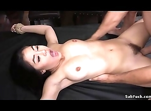 Oriental caned coupled with anal drilled to ropes